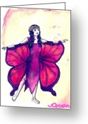 Ocean Art Greeting Cards - Butterfly Girl Greeting Card by Ocean
