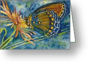 Butterflies And Blue Flowers Greeting Cards - Butterfly in CA Greeting Card by Norma Boeckler