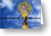 Light Bulb Mixed Media Greeting Cards - Butterfly In Lightbulb - Landscape Greeting Card by Shane Bechler