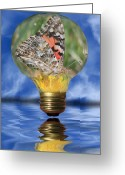 Light Bulb Mixed Media Greeting Cards - Butterfly In Lightbulb Greeting Card by Shane Bechler