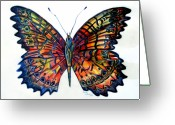 Insect Drawings Greeting Cards - Butterfly Greeting Card by Mindy Newman