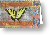 Colorful Photography Painting Greeting Cards - Butterfly Mosaic Greeting Card by JQ Licensing