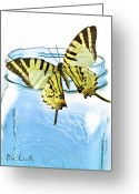 Mason Jar Greeting Cards - Butterfly on a blue jar Greeting Card by Bob Orsillo