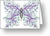 Outsider Art Drawings Greeting Cards - Butterfly Tattoo 2 Greeting Card by Karen Musick