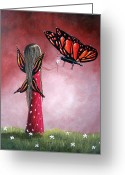 Fairies Art Greeting Cards - Butterfly Whisperer by Shawna Erback Greeting Card by Shawna Erback
