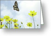Vietnam Greeting Cards - Butterfly With Flowers Greeting Card by Adegsm