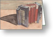 Ken Greeting Cards - Button Accordion Greeting Card by Ken Powers