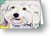 Pet Portraits Greeting Cards - Buttons    Greeting Card by Pat Saunders-White            