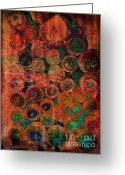 Vertical Abstract Greeting Cards - Buttons Greeting Card by Ann Powell