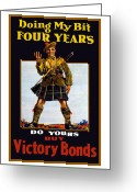 Great Mixed Media Greeting Cards - Buy Victory Bonds Greeting Card by War Is Hell Store
