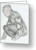 Muscular Drawings Greeting Cards - Buying My Time Greeting Card by Gerard  Schneider Jr