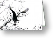 Buzzard Wings Greeting Cards - Buzzard Silhouette Greeting Card by Valia Bradshaw