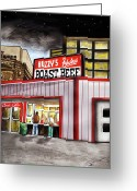 Landmarks Drawings Greeting Cards - Buzzys Fabulous Roast Beef Greeting Card by Dave Olsen