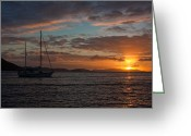 Sailboat Greeting Cards - BVI Sunset Greeting Card by Adam Romanowicz