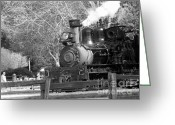 Light And Dark  Pyrography Greeting Cards - bw 33 - Roaring Camp Railroad  Greeting Card by Chris Berry