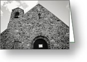 Lake Tekapo Greeting Cards - BW Church Greeting Card by Tiffany Pruett