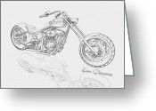 Pencil On Canvas Greeting Cards - BW Gator motorcycle Greeting Card by Louis Ferreira