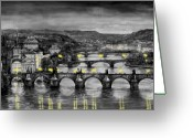 Prague Greeting Cards - BW Prague Bridges Greeting Card by Yuriy  Shevchuk