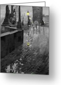 Old Bridge Greeting Cards - BW Prague Charles Bridge 01 Greeting Card by Yuriy  Shevchuk