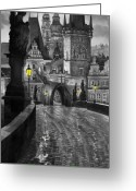 Old Bridge Greeting Cards - BW Prague Charles Bridge 03 Greeting Card by Yuriy  Shevchuk