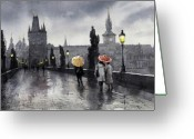 Old Bridge Greeting Cards - BW Prague Charles Bridge 05 Greeting Card by Yuriy  Shevchuk