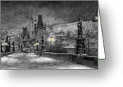 Landscape Greeting Cards - BW Prague Charles Bridge 06 Greeting Card by Yuriy  Shevchuk