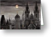 Old City Greeting Cards - BW Prague City of hundres spiers Greeting Card by Yuriy  Shevchuk