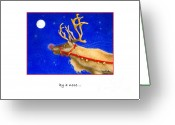 Rudolph Greeting Cards - By A Nose... Greeting Card by Will Bullas