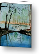 Saco River Greeting Cards - By Rivers Edge Greeting Card by Brenda Owen