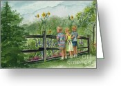 Split Rail Fence Painting Greeting Cards - By the Garden Fence  Greeting Card by Nancy Patterson