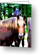 Quarter Horses Greeting Cards - By the Gate Greeting Card by Dorrie Pelzer