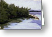 Ocean Landscape Pastels Greeting Cards - By the Mangroves Greeting Card by Deb LaFogg-Docherty