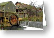 Old Mills Greeting Cards - By the Old Mill Stream Greeting Card by Larry Bishop