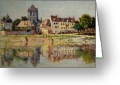 French Landscape Greeting Cards - By the River at Vernon Greeting Card by Claude Monet