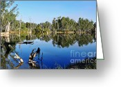 Reflections In Water Greeting Cards - By the River Greeting Card by Kaye Menner