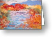 Orange Pastels Greeting Cards - By The River Greeting Card by M Diane Bonaparte