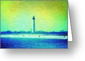 Photographs Digital Art Greeting Cards - By The Sea - Cape May Lighthouse Greeting Card by Bill Cannon