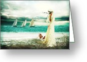 Romanticism Digital Art Greeting Cards - By the Sea Greeting Card by Shanina Conway