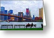 Cityscape Digital Art Greeting Cards - By the Water Too Sketch Greeting Card by Randy Aveille