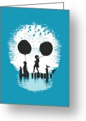 Silhouette Greeting Cards - Bye Bye Apocalypse Greeting Card by Budi Satria Kwan