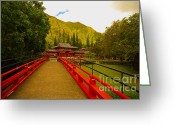 Buddhist Temple Greeting Cards - Byodo-In Temple Greeting Card by Cheryl Young