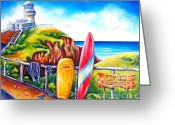 Surf Art Greeting Cards - Byron Bay Lighthouse Greeting Card by Deb Broughton