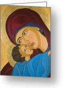 Byzantine Greeting Cards - Byzantine Art Mother Love Greeting Card by Marinella Owens