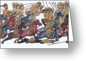 Byzantine Greeting Cards - Byzantine Cavalrymen Rout Bulgarians Greeting Card by Photo Researchers