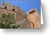 Byzantine Greeting Cards - Byzantine Fortress at Lindos Greeting Card by Laurel Talabere