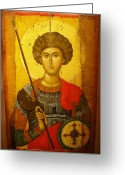Protector Greeting Cards - Byzantine Knight Greeting Card by Ellen Henneke