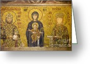 Byzantine Icon Greeting Cards - Byzantine Mosaic in Hagia Sophia Greeting Card by Artur Bogacki