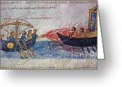 Byzantine Greeting Cards - Byzantine Sailors Use Greek Fire On Greeting Card by Photo Researchers