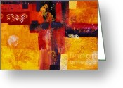 Byzantine Greeting Cards - BYZANTINE TIMES an abstract painting of geometric shapes Greeting Card by Phil Albone