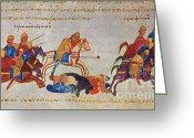 Byzantine Greeting Cards - Byzantines Cavalrymen Pursuing The Rus Greeting Card by Photo Researchers
